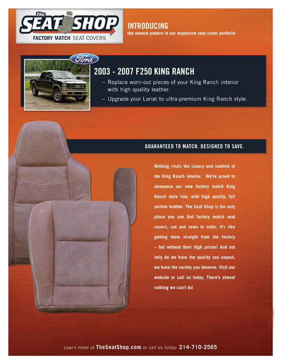 Wondrous New King Ranch Style Covers From The Seat Shop The Seat Shop Inzonedesignstudio Interior Chair Design Inzonedesignstudiocom